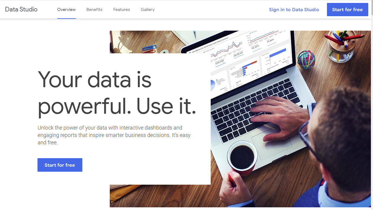 Data studio homepage